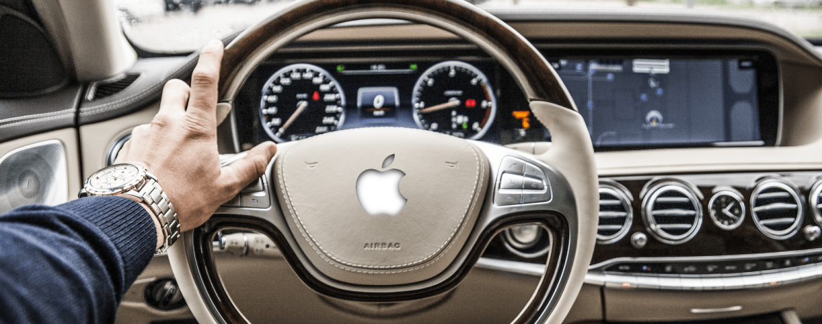 Mock image of self-driving car powered by Apple AI.