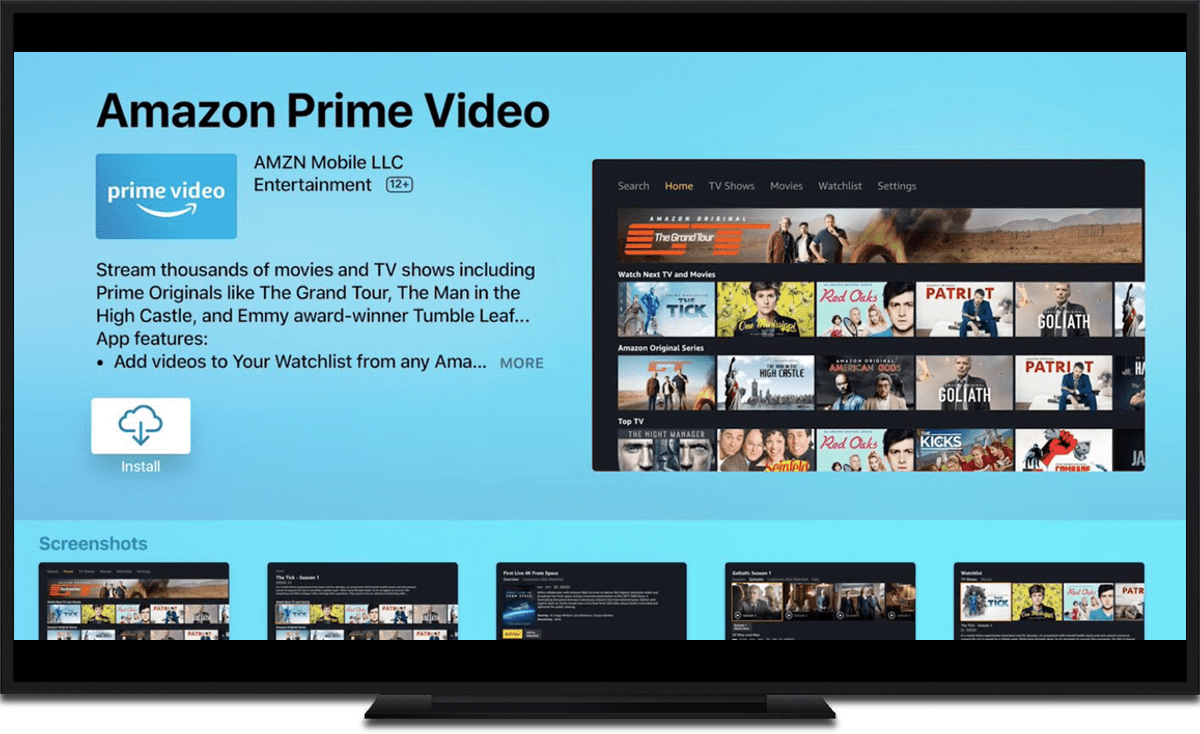 apple TV video streaming apps amazon prime video