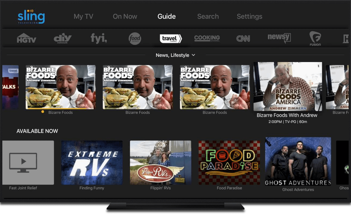 apple TV video streaming apps sling tv