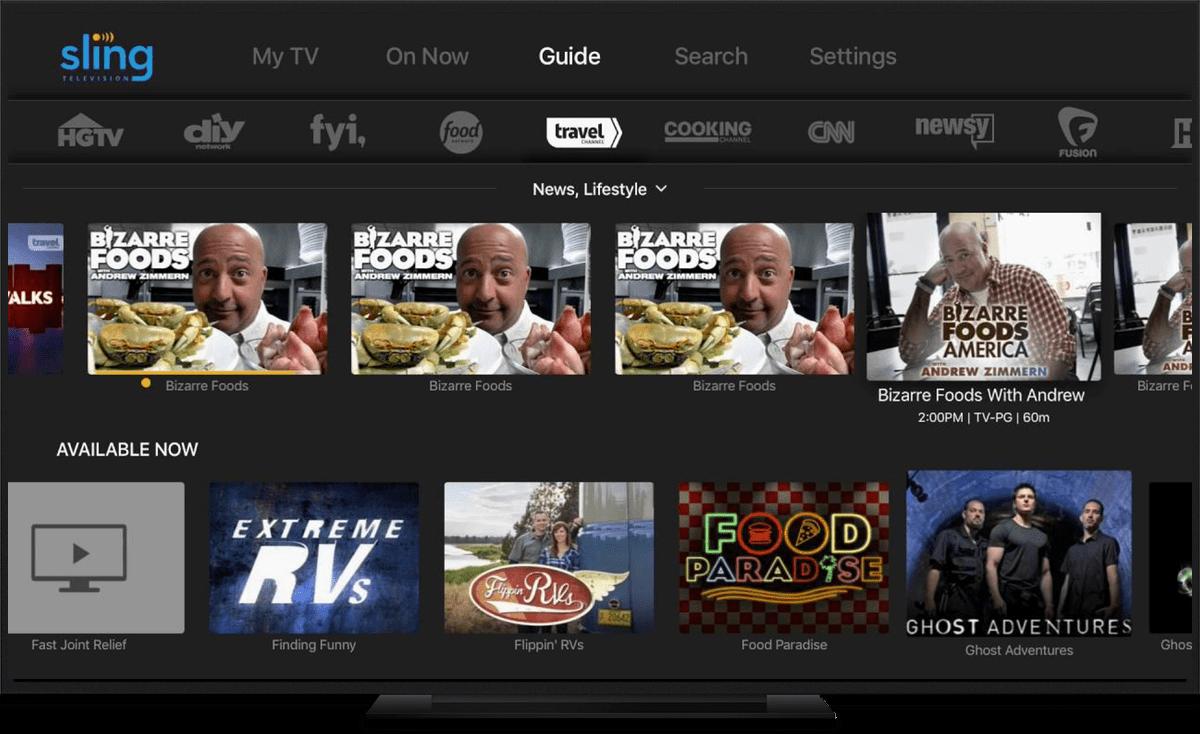 apple TV video streaming apps sling tv