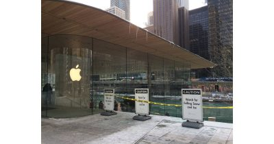 icy roof on Chicago Apple Store