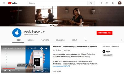 A screenshot of Apple's Support channel home page on YouTube