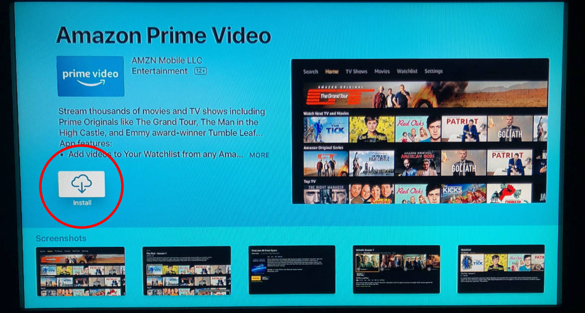 Install button for Amazon Prime Video app in Apple TV App Store