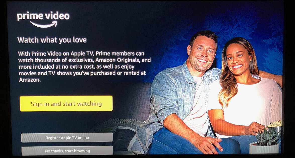 Amazon Prime Video sign in option on Apple TV