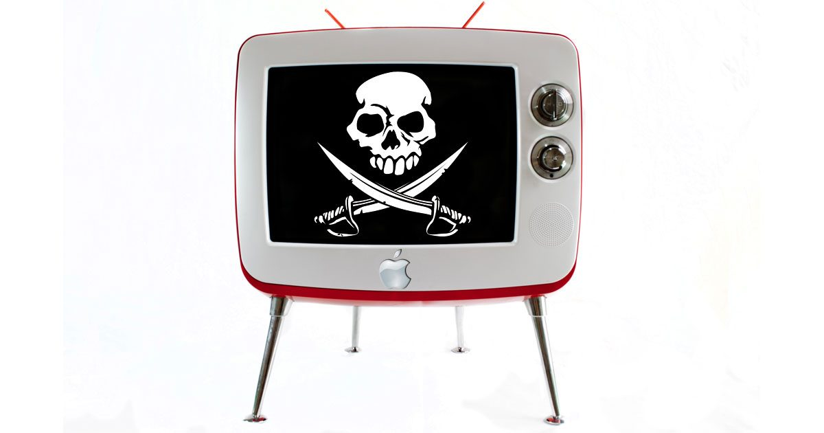 An Apple TV showing the Jolly Roger