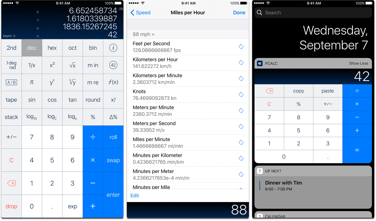 Screenshots of PCalc, one of the best 2017 apps.