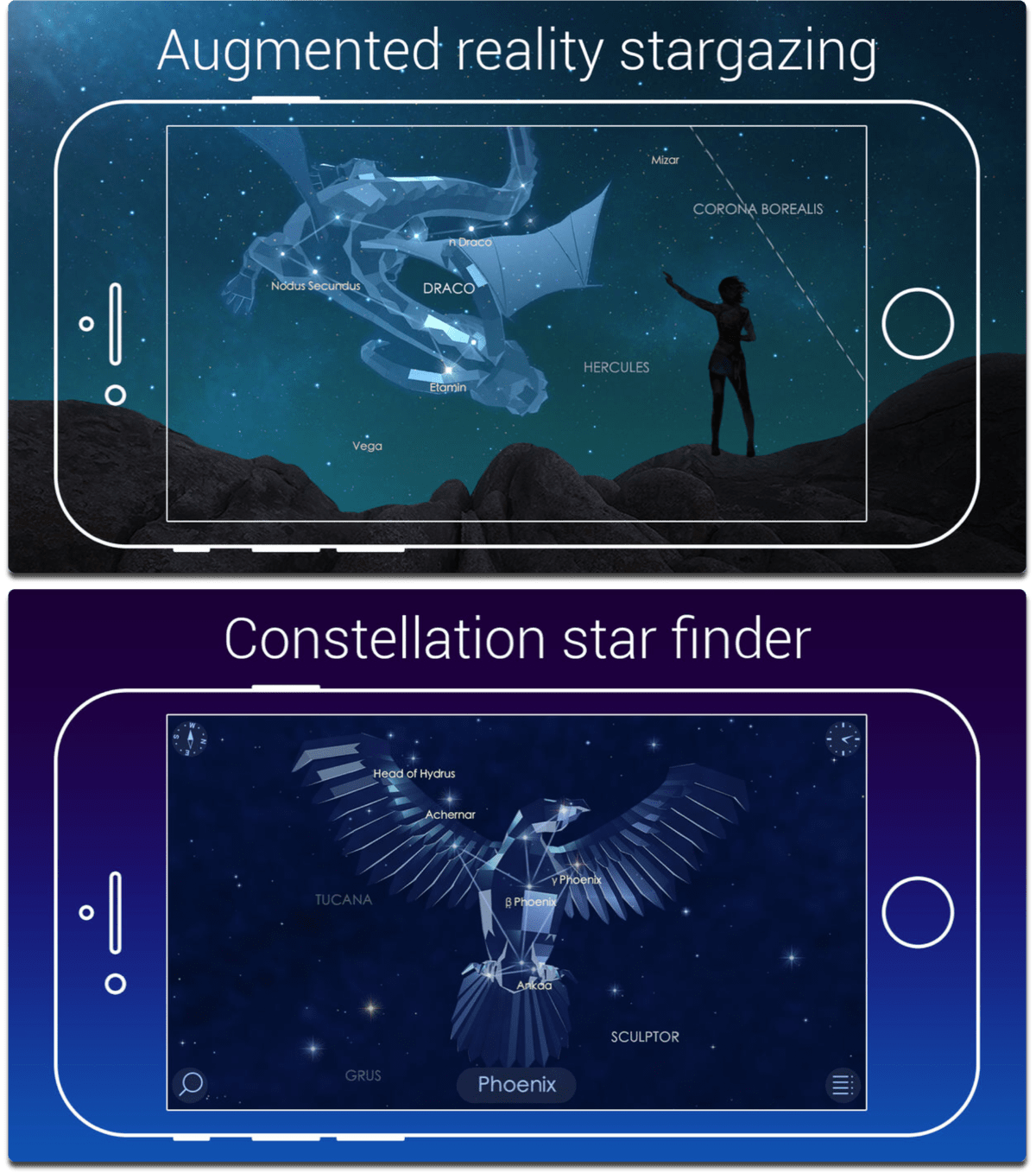 Screenshots of Star Walk 2, one of the best 2017 apps.