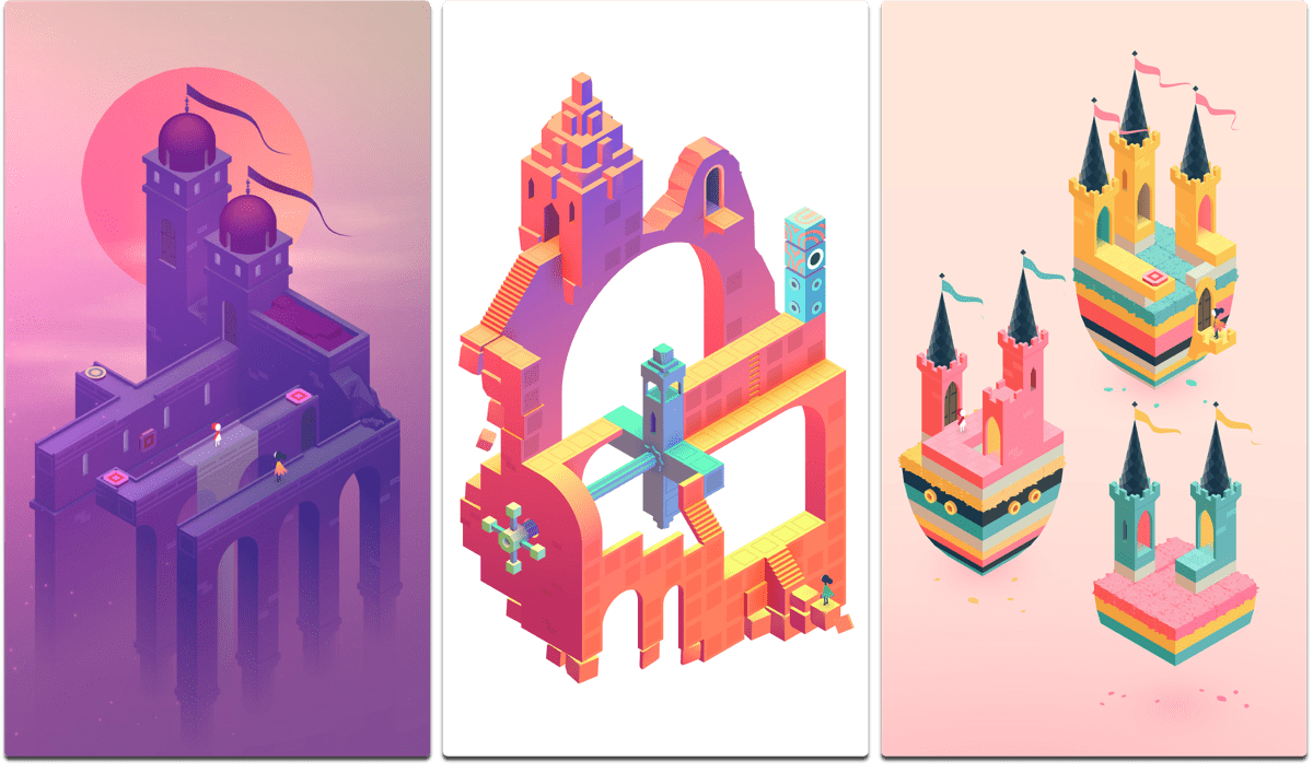 Screenshots of Monument Valley 2, one of the best 2017 games.