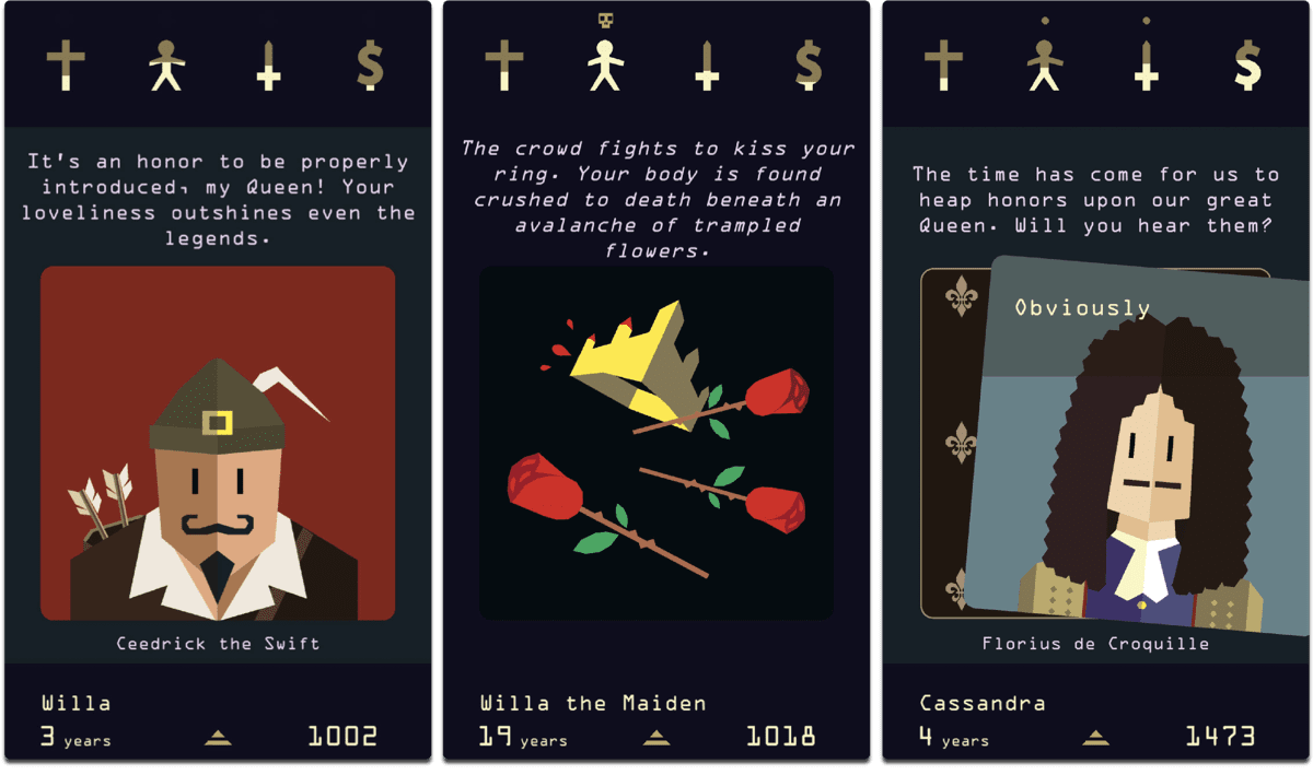 Screenshots of Reigns Her Majesty, one of the best 2017 games.