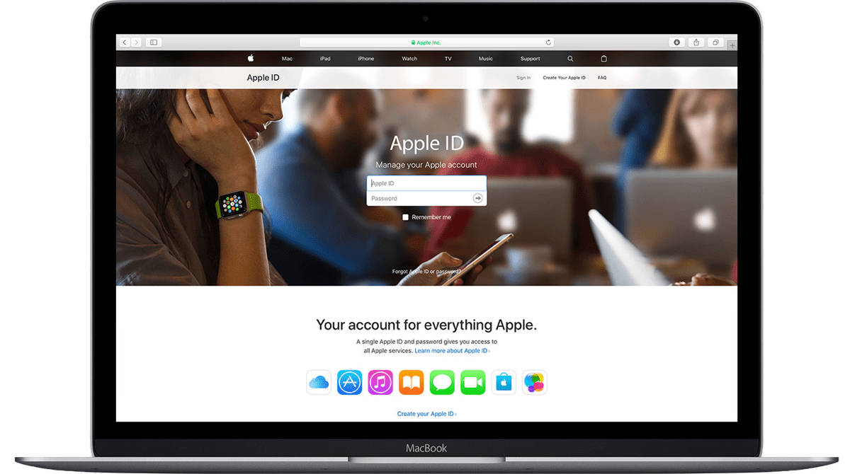 Create an Apple ID by visiting Apple's website.