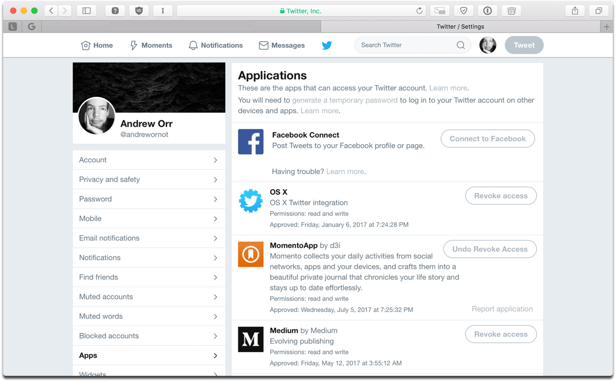 Deauthorize Twitter apps by revoking access in settings.