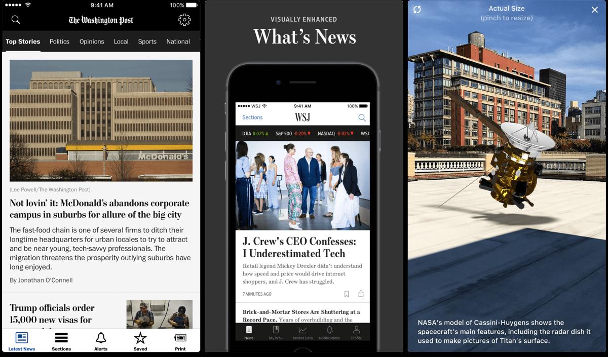 Screenshots of different news apps.