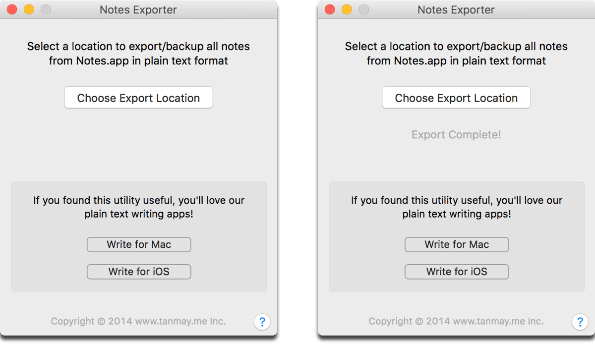 Screenshot of tool that lets you export Apple Notes as plain text files.