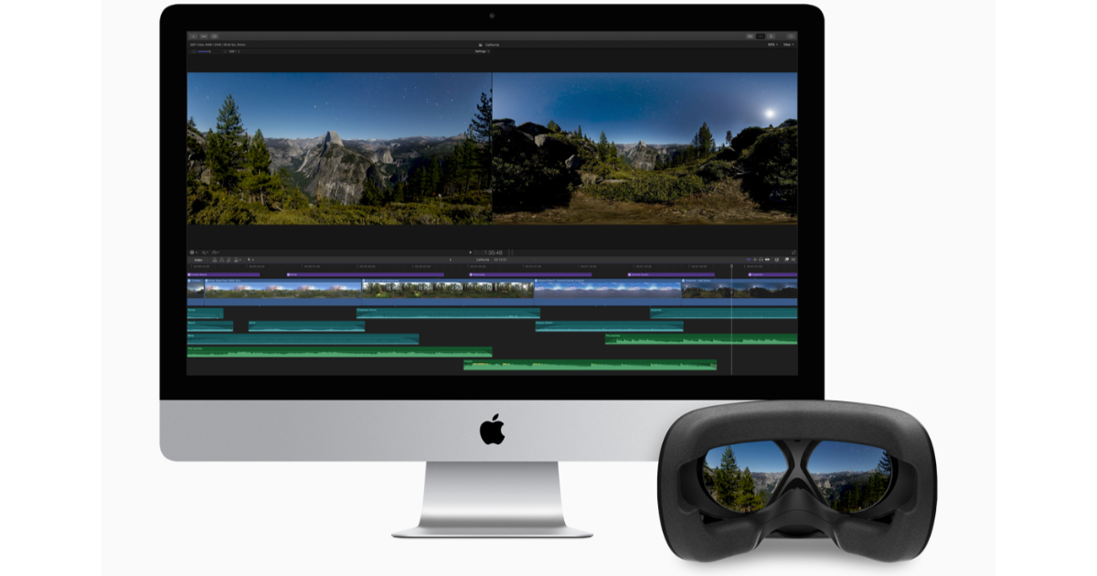 Final Cut Pro on iMac with HTC VIVE VR headset