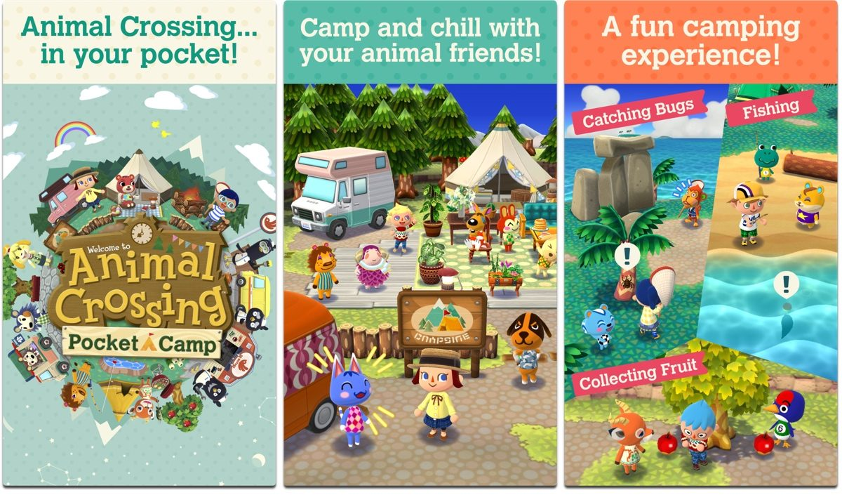 Screenshots of Animal Crossing Pocket Camp, one of our holiday games.