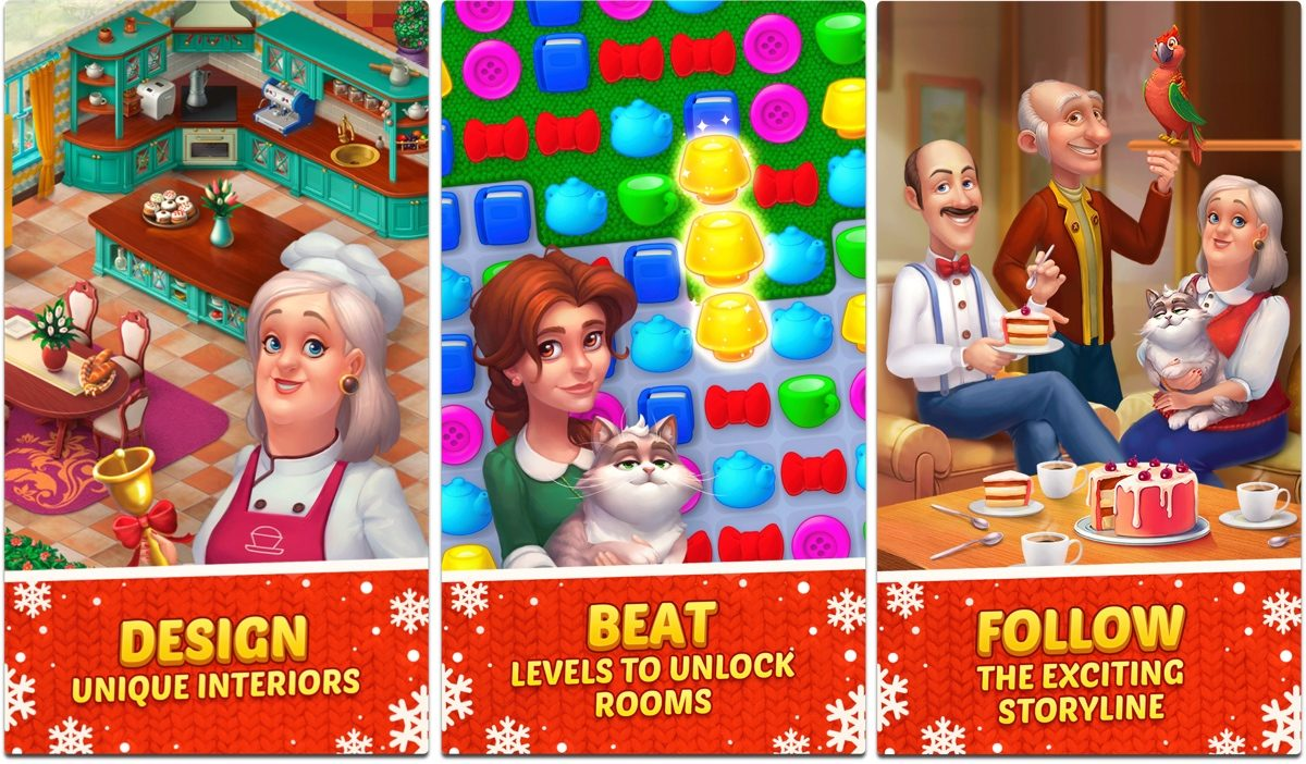 Screenshots of Homescapes, one of our holiday games.