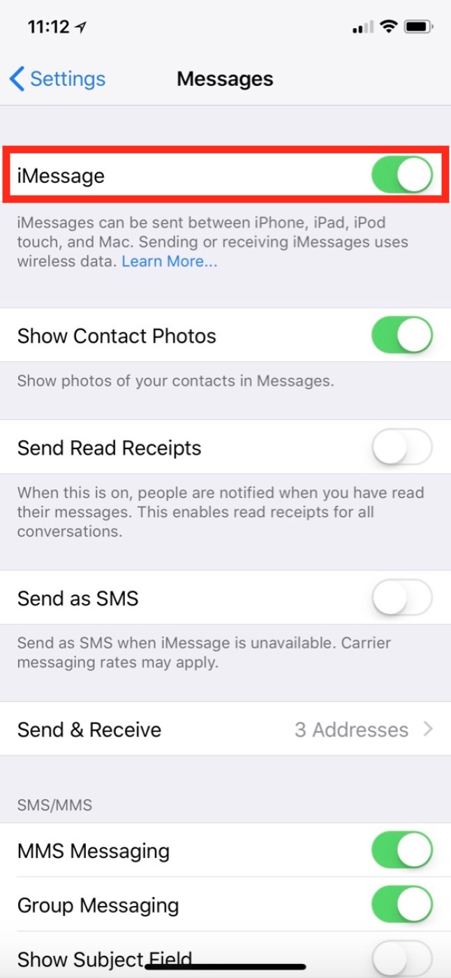 iMessage Settings for Messages app on iPhone