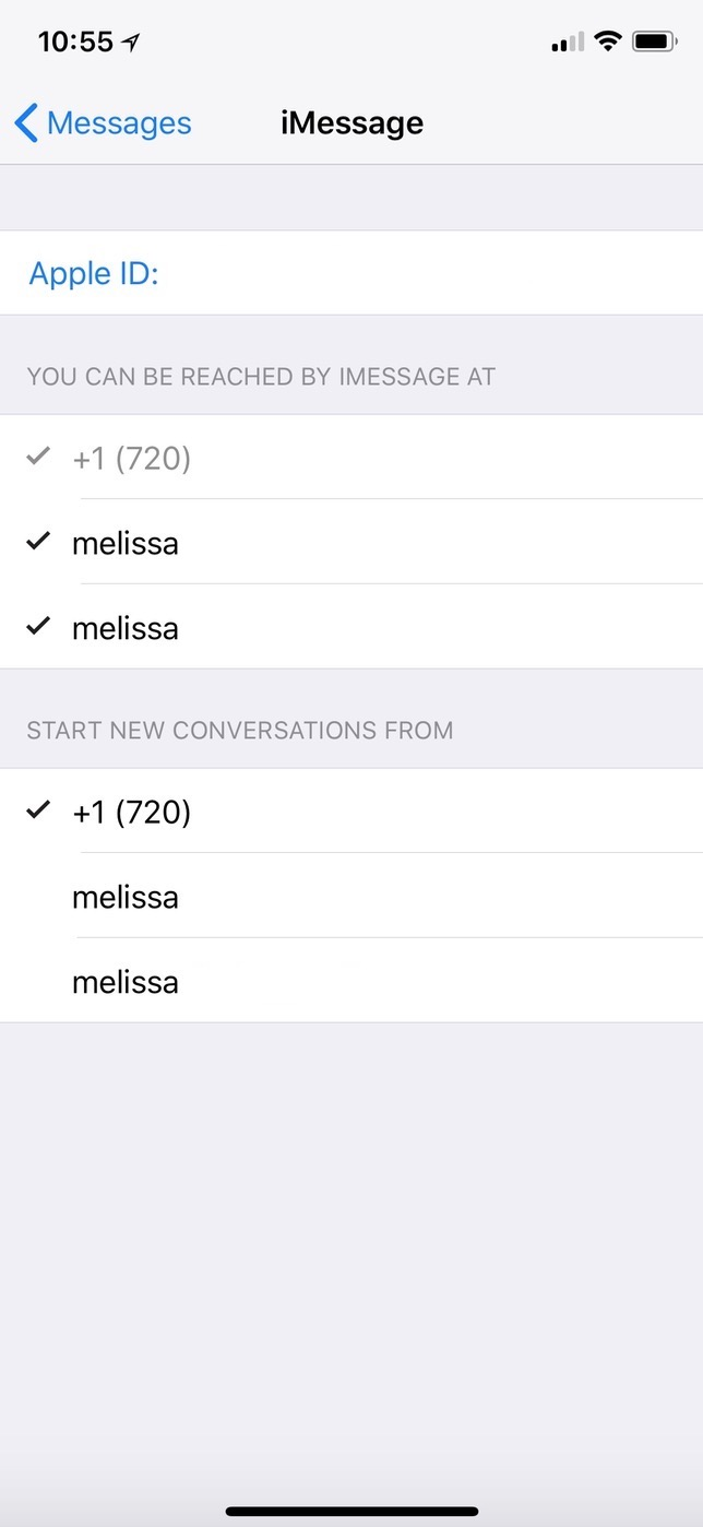 iMessage Settings on iPhone showing selected accounts