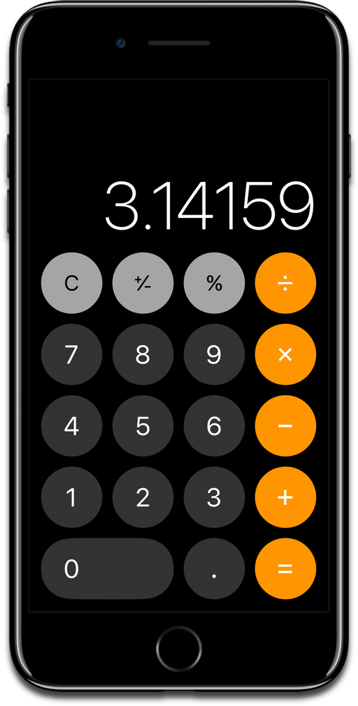 Screenshot of the iOS calculator.