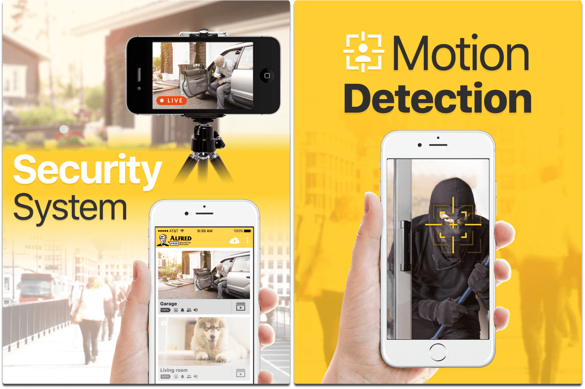 Screenshots of iOS security camera app Alfred.