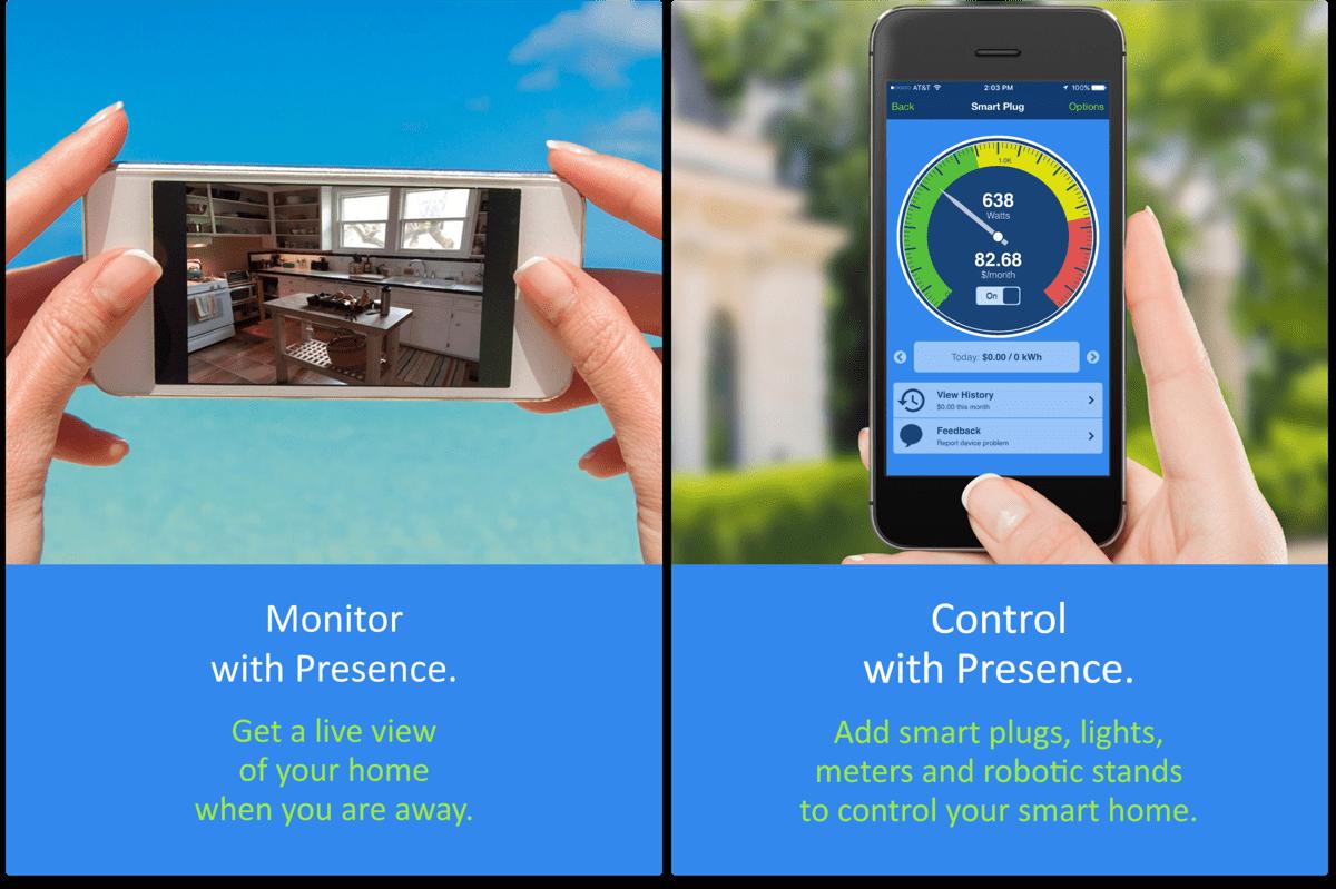Screenshots of iOS security camera app Presence.