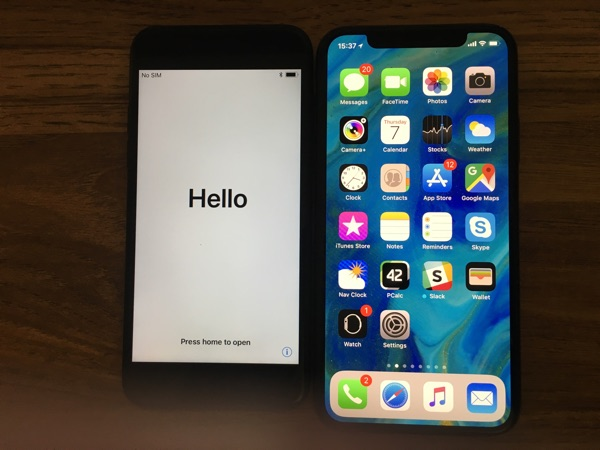 iPhone X next to 7.