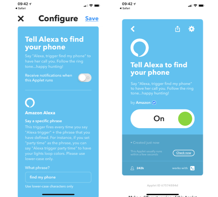 IFTTT recipe to use Alexa and Echo to call your lost iPhone