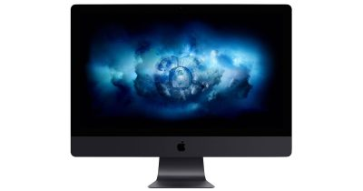 iMac Pro with an Apple logo and a lock