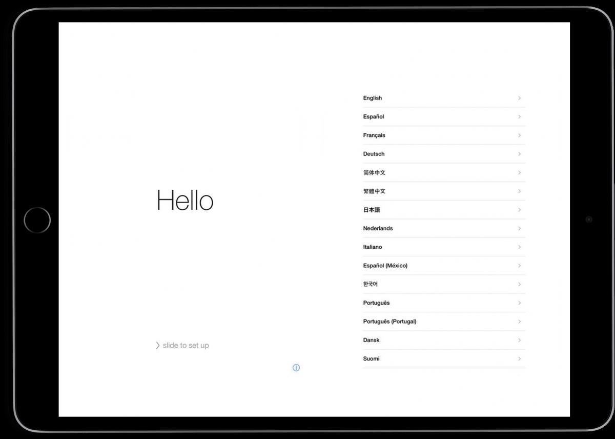 iPad set up hello screen.