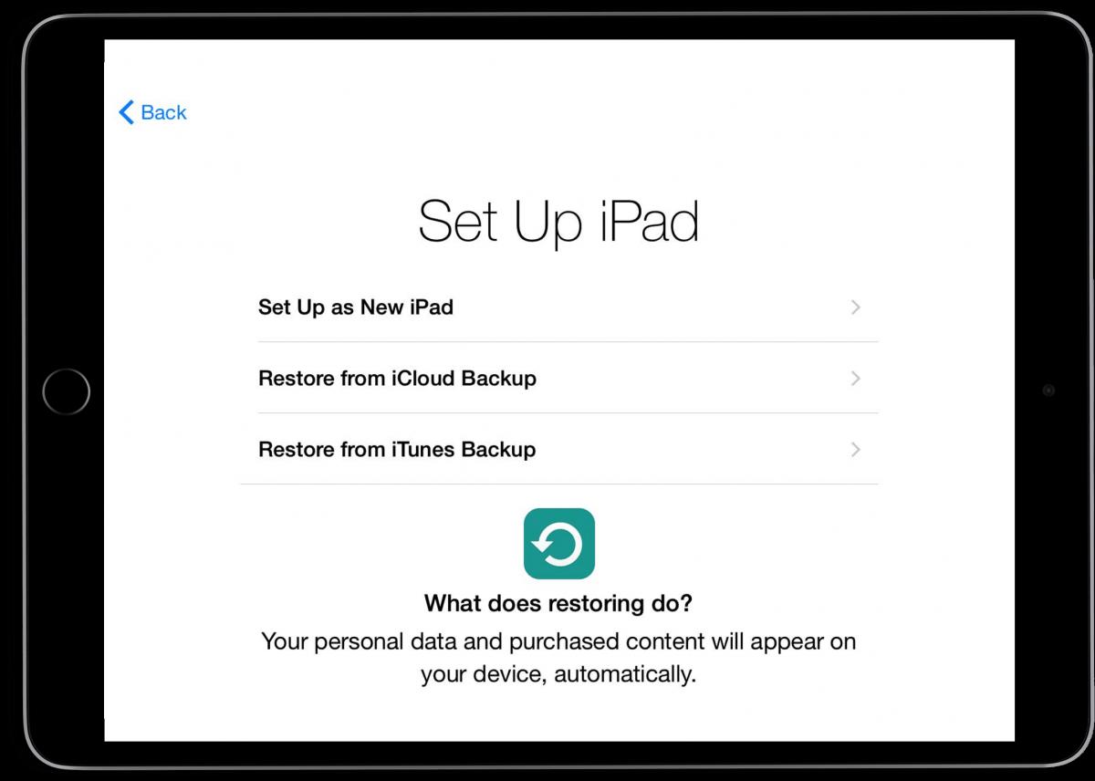 iPad set up restore screen.