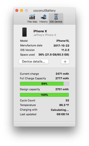 coconutBattery for the Mac monitors iPhone battery health