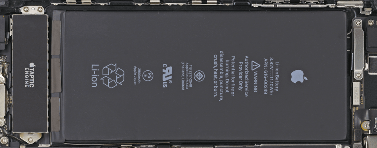 Image of iPhone battery, which is at the heart of the iPhone throttling issue.