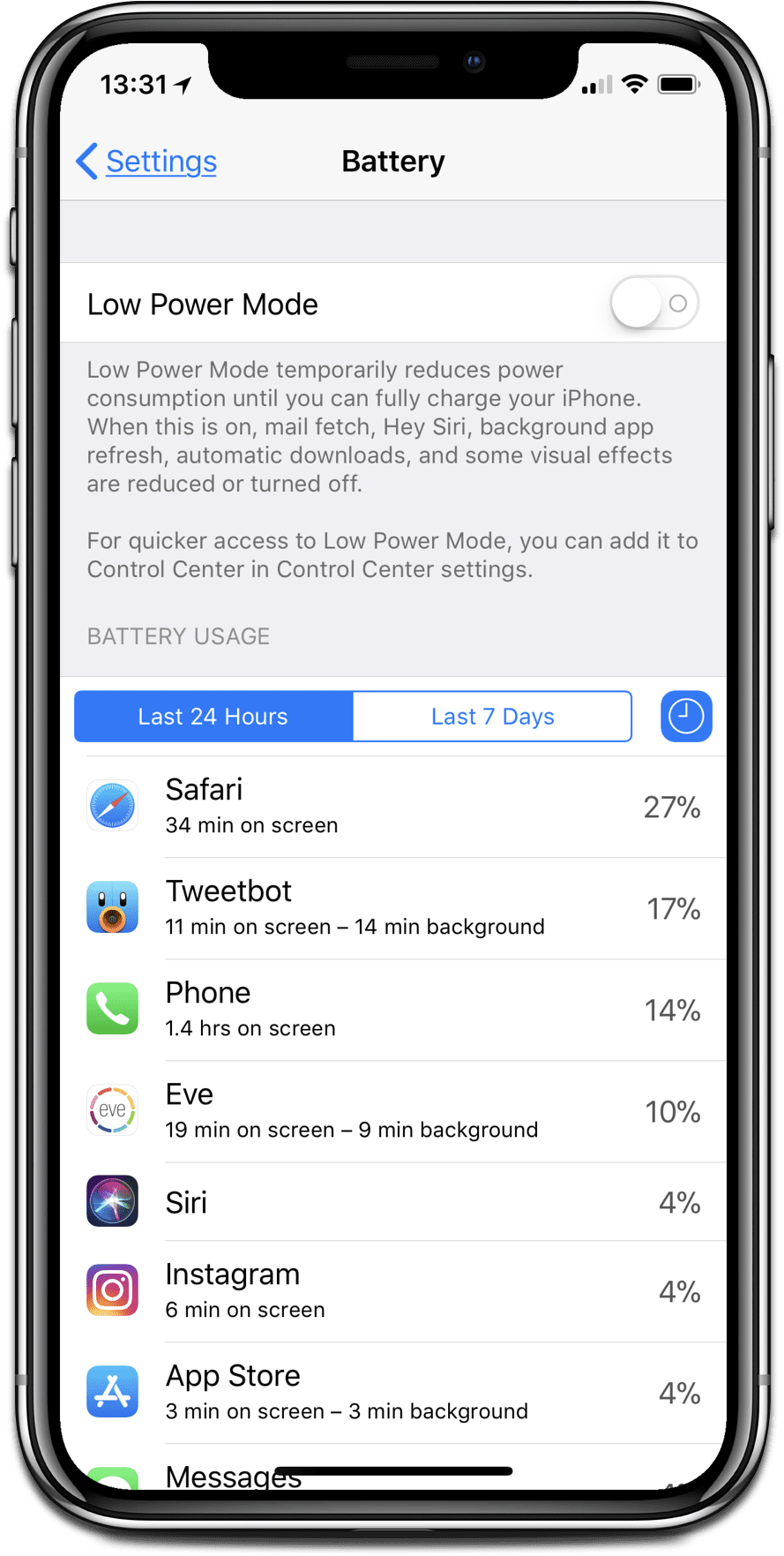 iPhone X troubleshooting tip: Look at the battery screen to see apps that use a lot of energy.