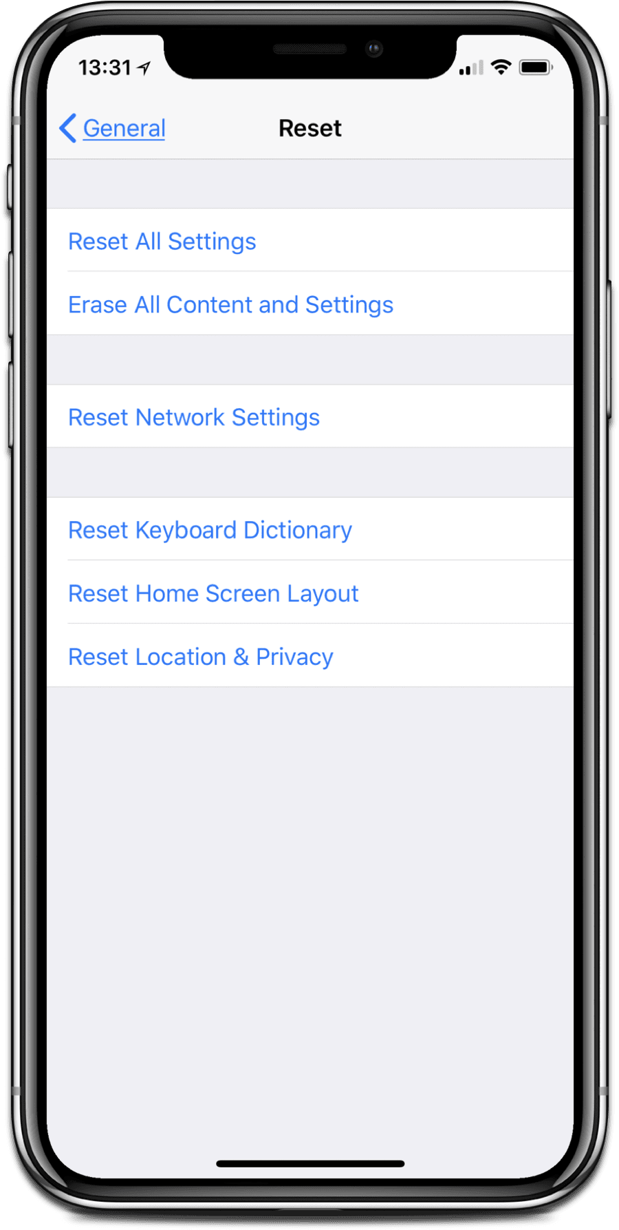 iPhone X troubleshooting tip: Reset settings.