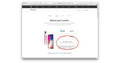 iPhone X unlocked on Apple's online store