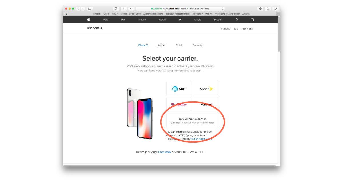 iPhone X unlocked on Apple's online store