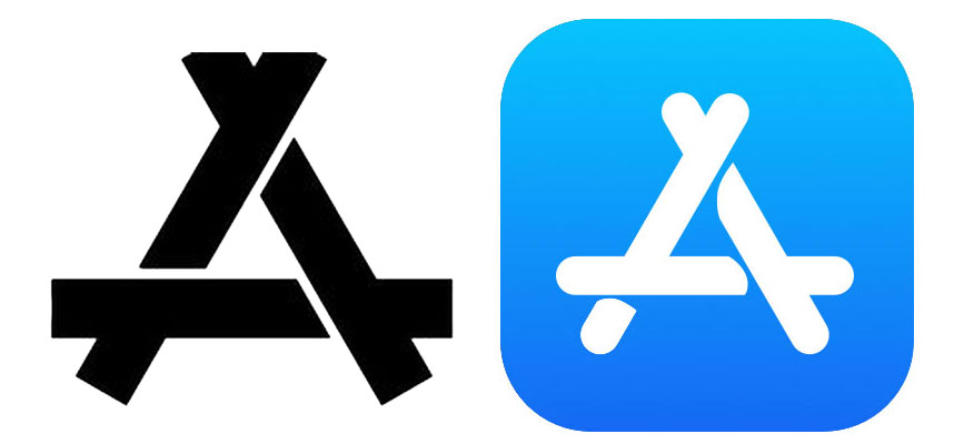 KON logo on the left, Apple's App Store icon on the right