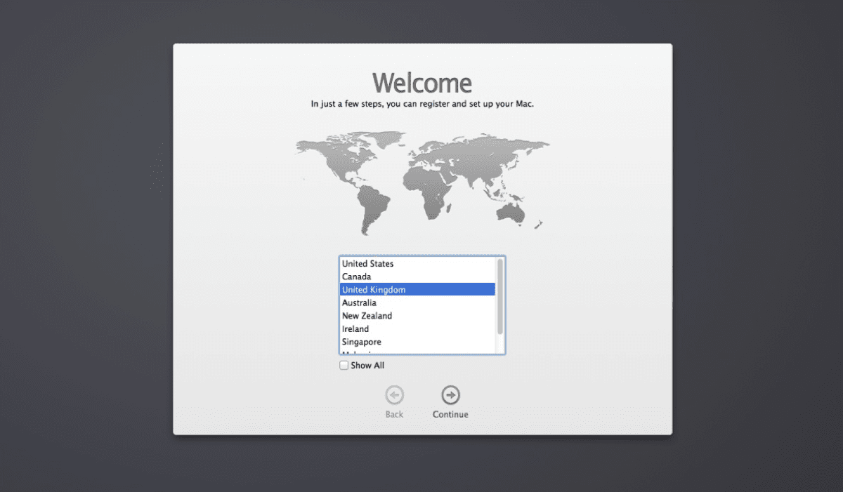 You'll see a welcome screen when you first start the Mac set up guide.