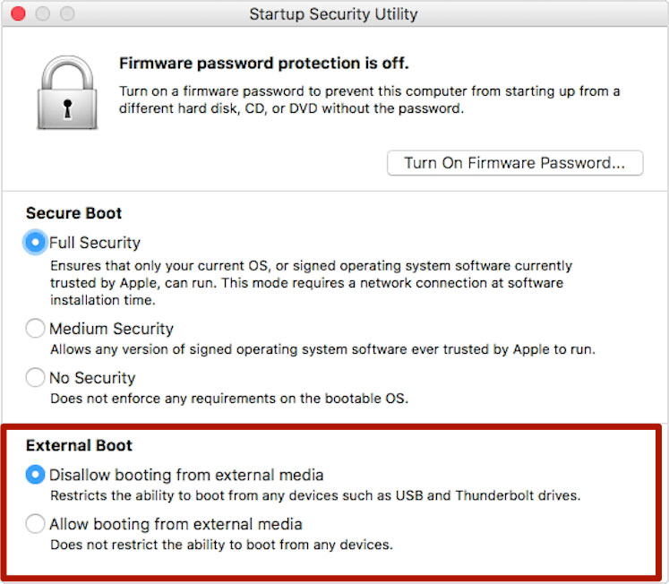 Startup Security Utility Screenshot with External Boot options highlighted