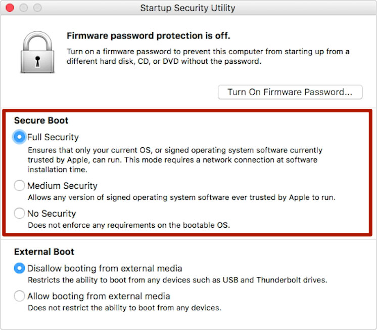 Startup Security Utility Screenshot with Secure Boot options highlighted