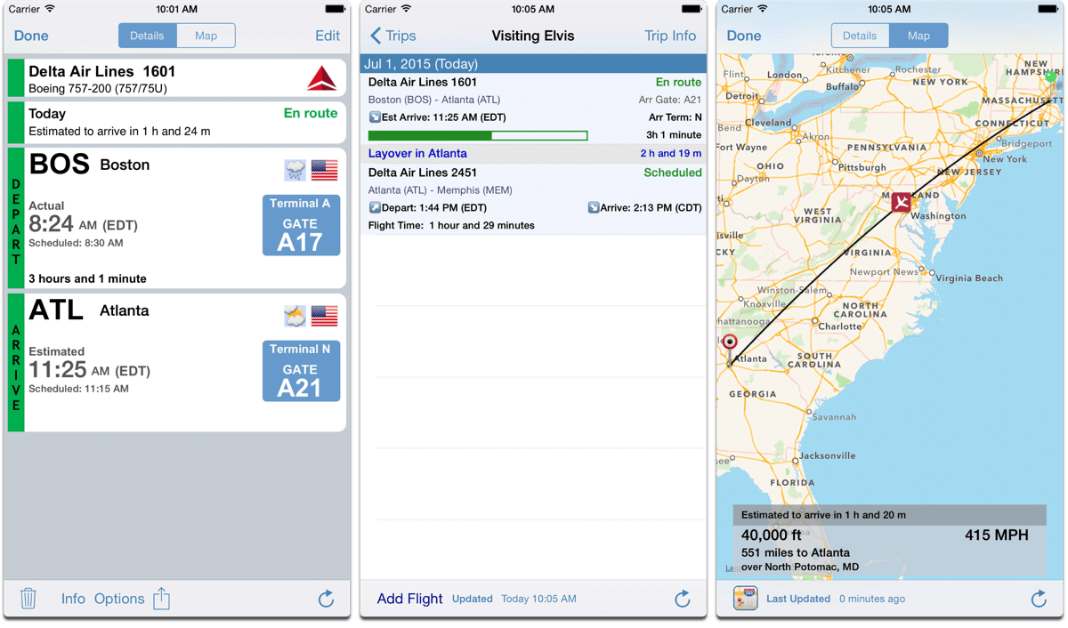 Screenshots of Flight Update Pro, one of our must have apps.