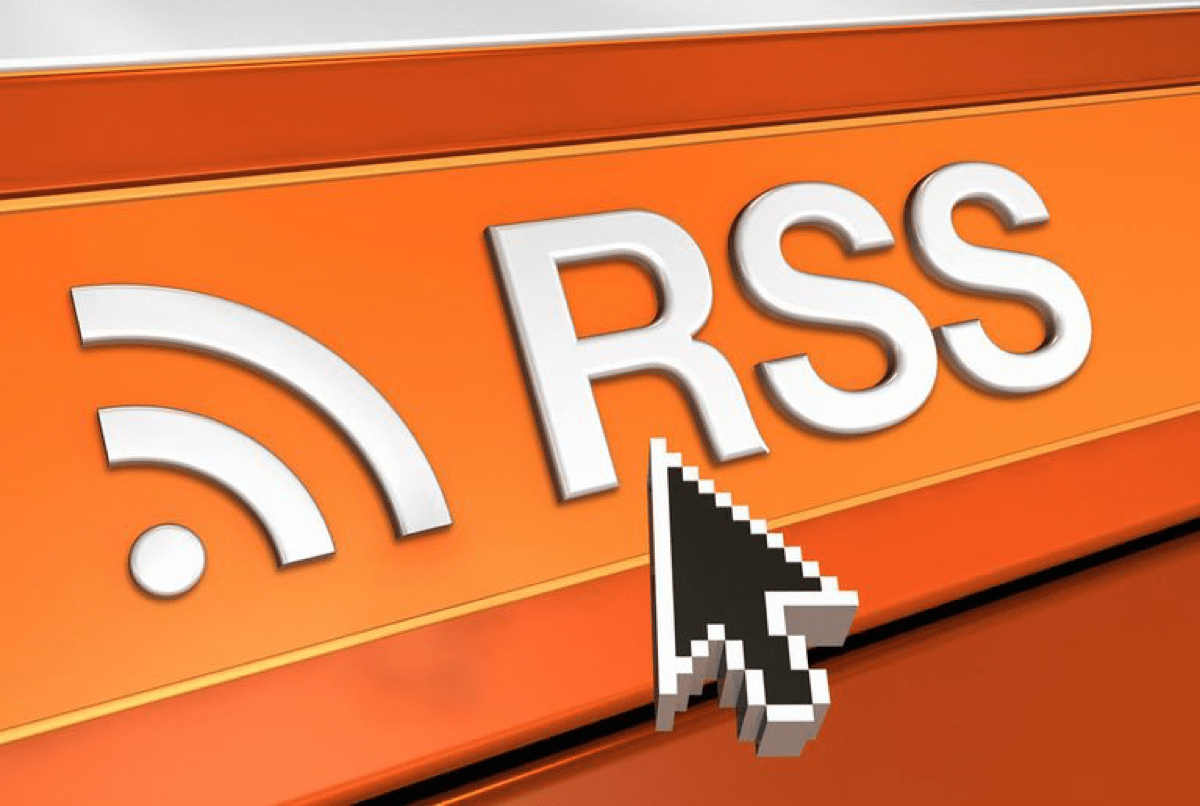 Image of an RSS logo. RSS readers are news apps that let you subscribe to multiple websites.