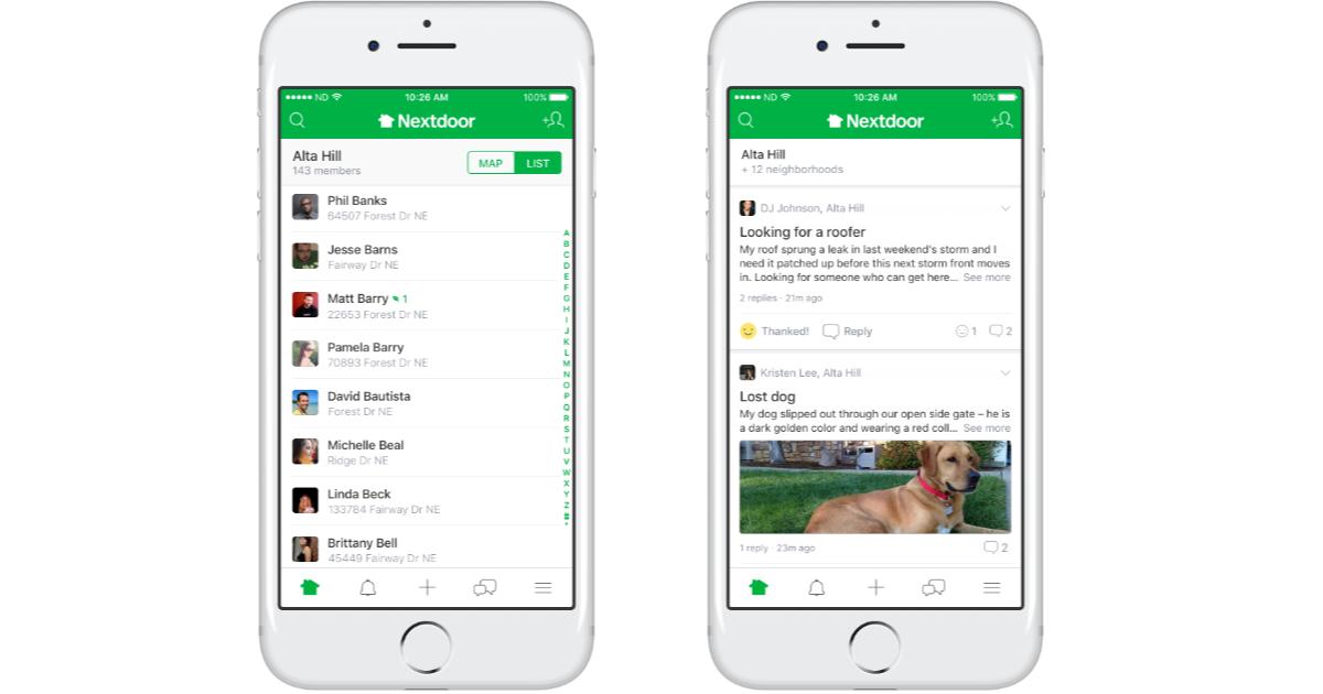 Nextdoor app on the iPhone