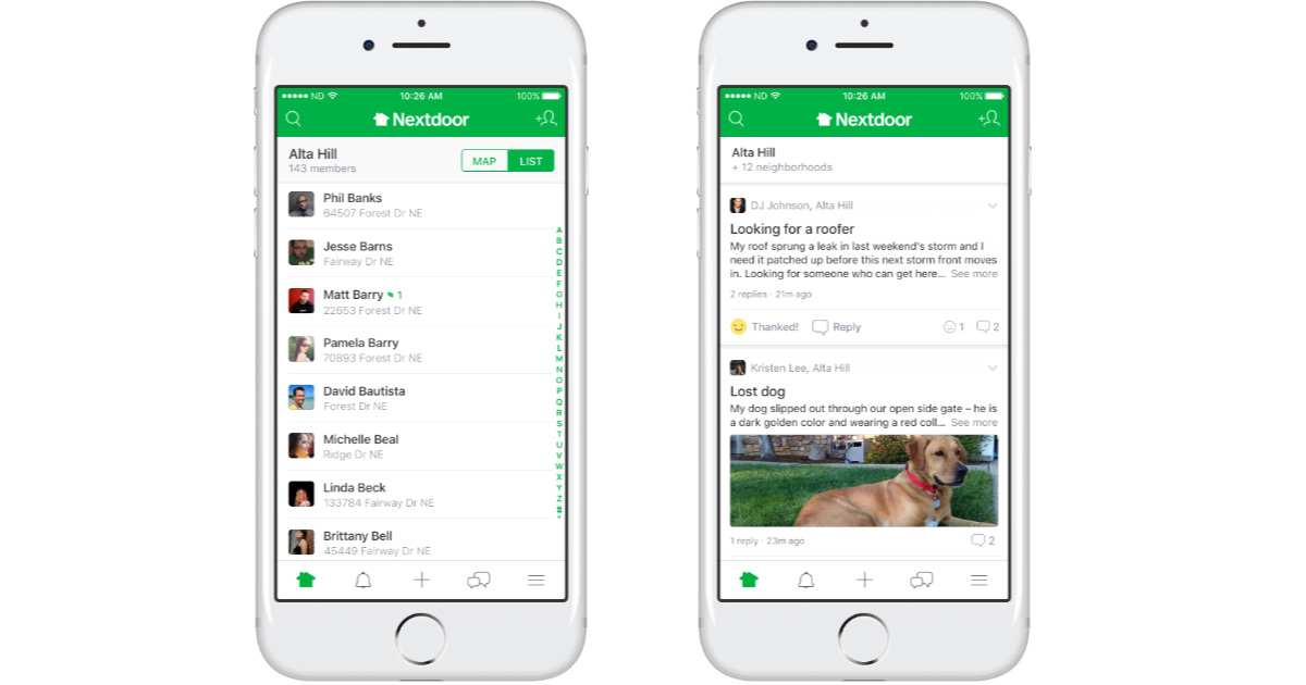 Nextdoor app on the iPhone