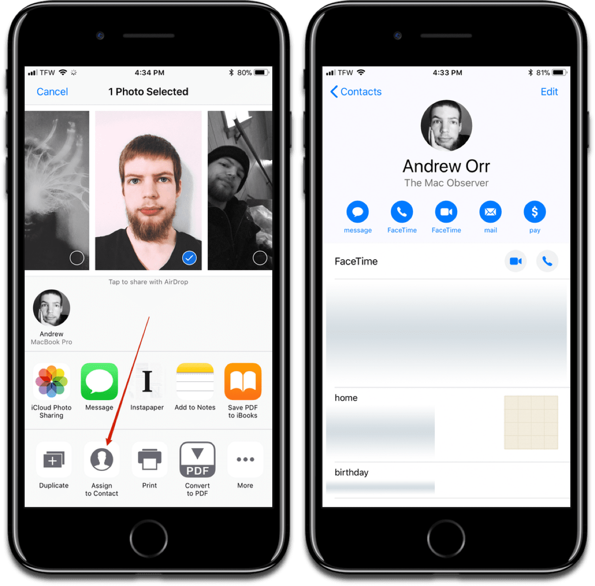 Readjust contact photos in the Photos app, not Contacts app.