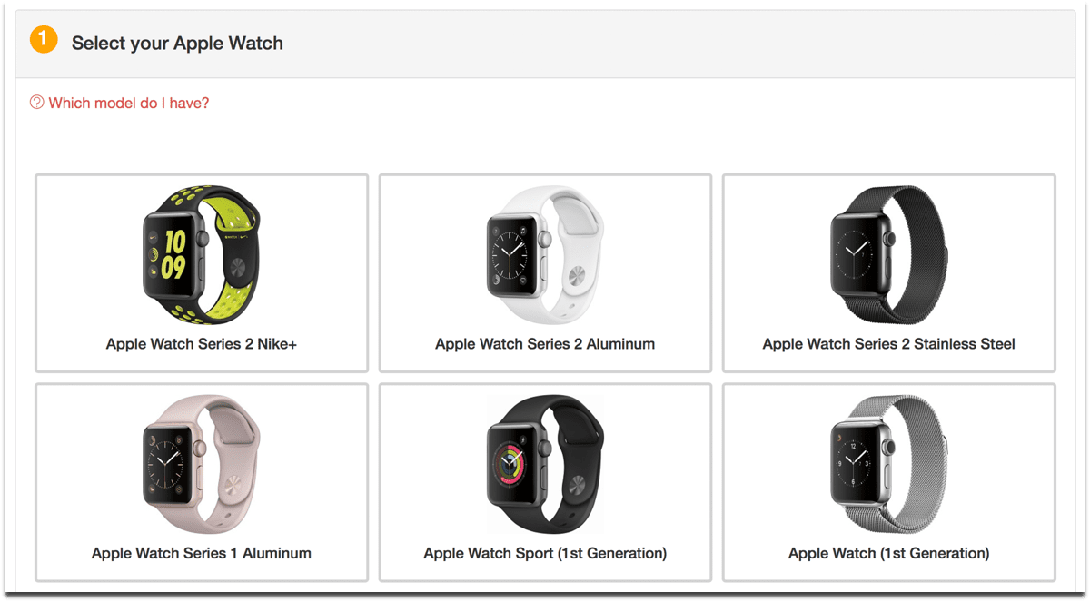 Choose your model to recycle Apple Watches.