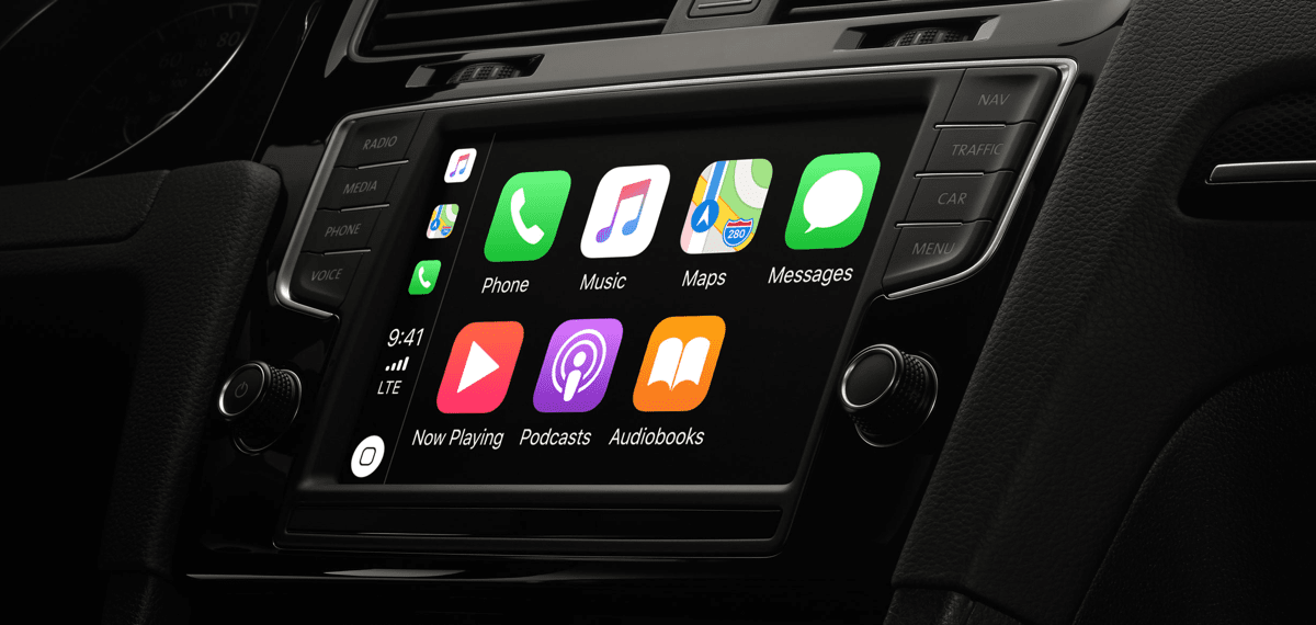 Image of CarPlay in a car. WhatsApp on CarPlay will roll out soon.