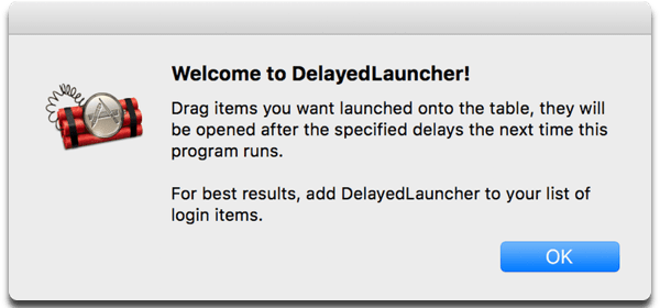 Speed up Mac login times with DelayedLauncher. Image of app welcome screen.