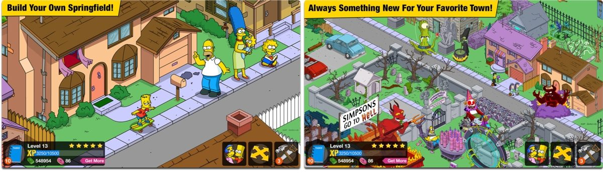 Screenshots of The Simpsons Tapped Out, one of our holiday games.