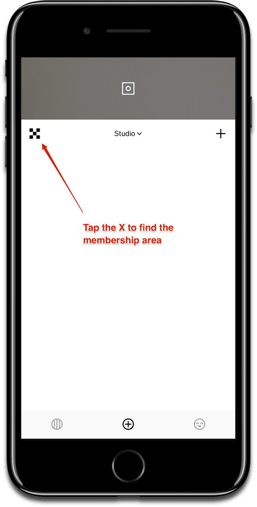 Tap the X to get to the VSCO X member area.